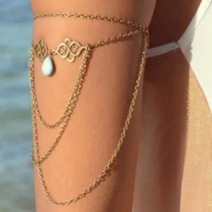 Boho Turquoise and Gold Chain Upper Arm Bracelet